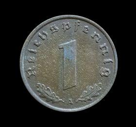 Германия 1 пфеннинг 1940г Третий Рейх, отличные