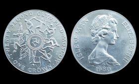 остров Мэн 1 крона 1980 Олимпиада Москва UNC