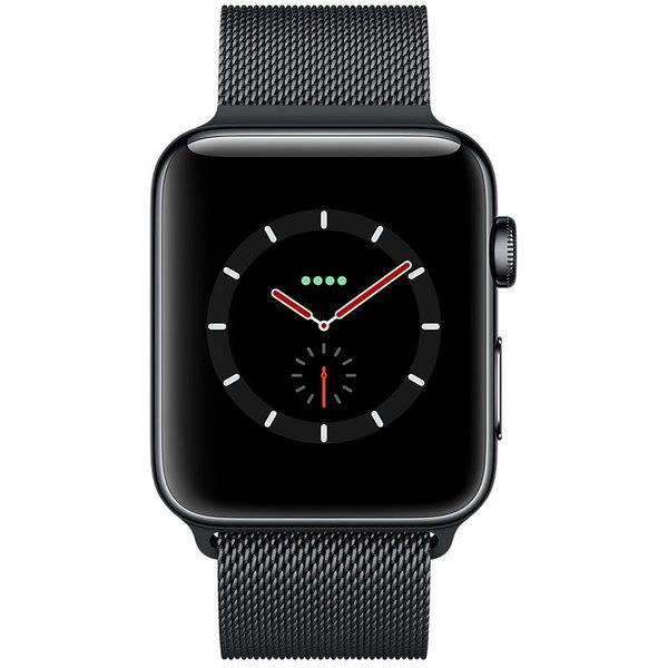 Apple Watch Series 3 38mm Cellular Stainless Steel Case with Space Black Milanese Loop (MR1H2)