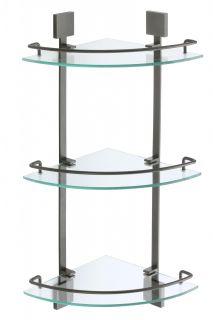 Полка Savol S-065322Q-3 угловая тройная стеклянная графит