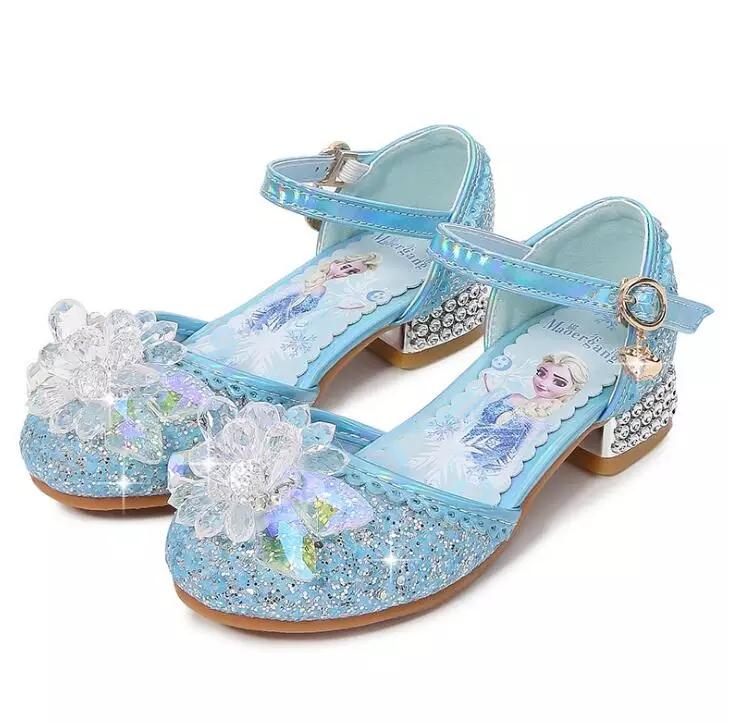 Туфли босоножки Эльзы из мультфильма  Холодное сердце голубые с закрытым носком 17 см