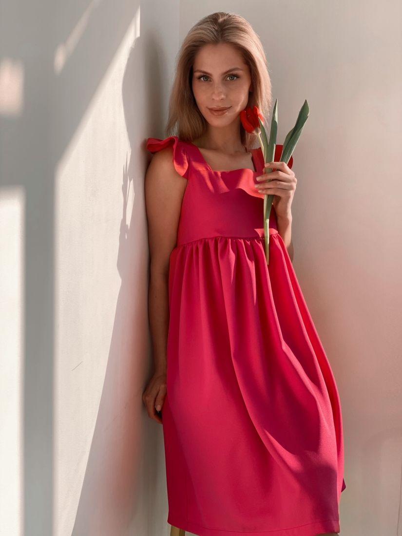 s3788 Платье в стиле babydoll в ярко-розовом цвете