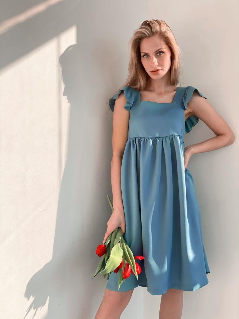 s3789 Платье в стиле babydoll голубое