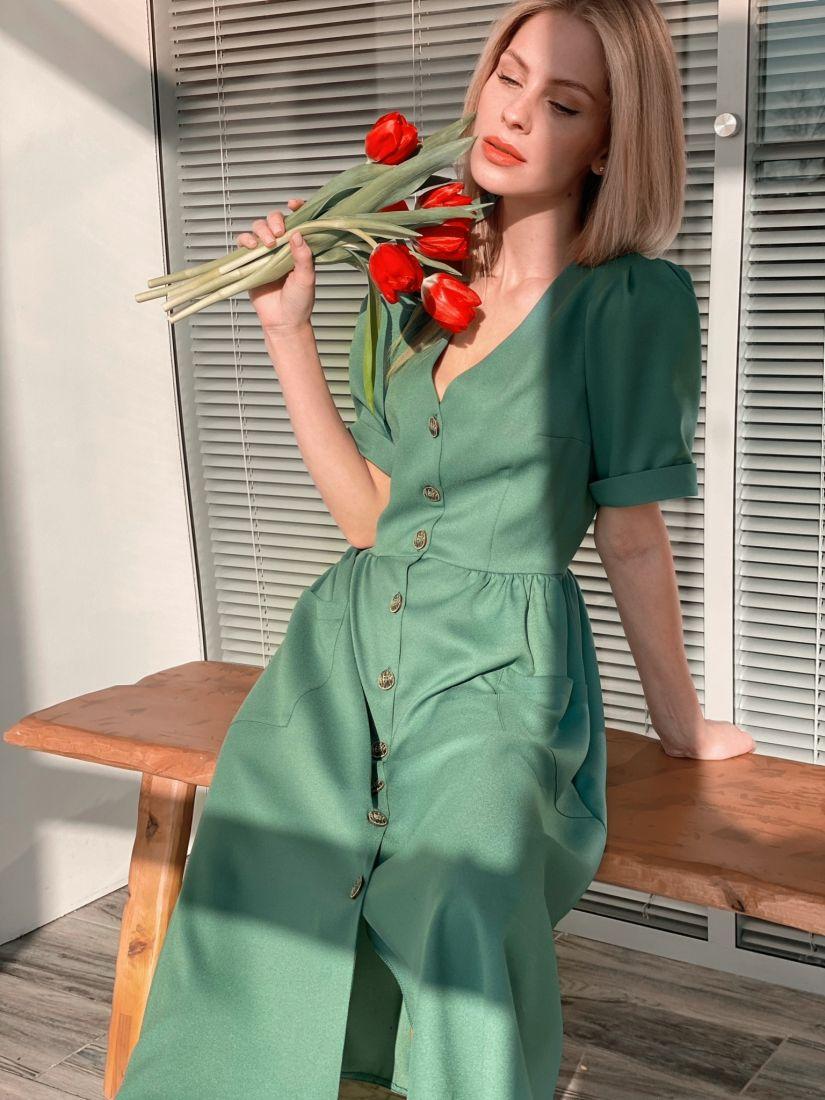 s3796 Платье в ретро-стиле в цвете папоротника