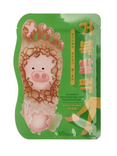 Пилинг-носочки для очищения и смягчения кожи стоп Witch Piggy Hell Pore Turtle 27 s Foot Pack ELIZAVECCA