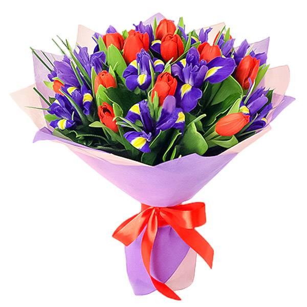 Ирисы и красные тюльпаны