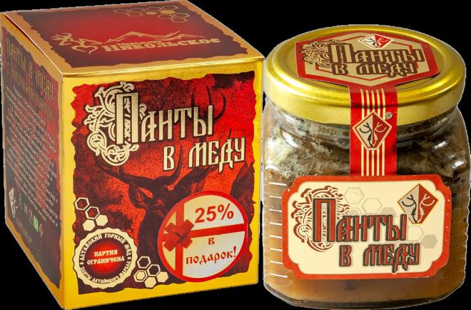 Панты в меду (с кусочками губчатого вещества) 320 г.