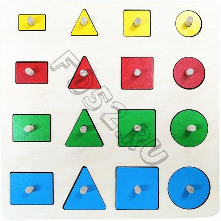 Мозаика-вкладыш Геометрические формы, 16 деталей 23339