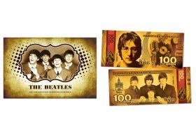 100 рублей - The Beatles (золото). Памятная банкнота в буклете.