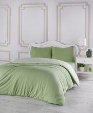 Комплект постельного белья трикотажный  SOFA (зеленый-св.зеленый) евро   Арт.2988-5