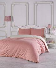 Комплект постельного белья трикотажный  SOFA (коралл-кремовый) евро   Арт.2988-7