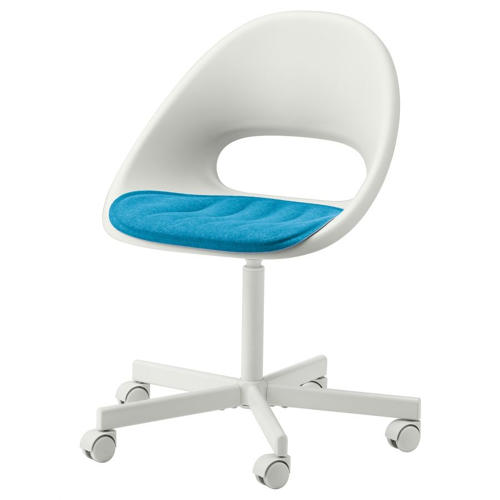 LOBERGET ЛОБЕРГЕТ / BLYSKAR БЛИСКЭР, Рабочее кресло c подушкой, белый/синий - 393.318.91