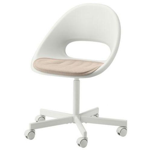 LOBERGET ЛОБЕРГЕТ / BLYSKAR БЛИСКЭР, Рабочее кресло c подушкой, белый/бежевый - 693.318.80