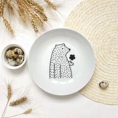 Тарелка глубокая «Цветочный мишка» Sans Brides 20 см фарфор