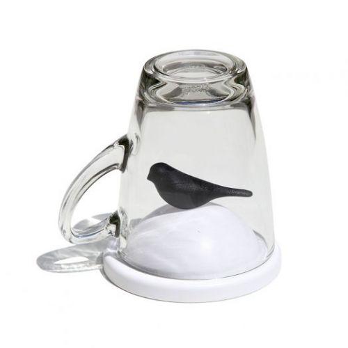 Чашка с крышкой Sparrow, белая с черным