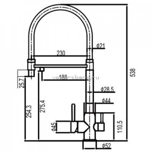 Смеситель для кухни с выходом под фильтр Gappo G4399-5