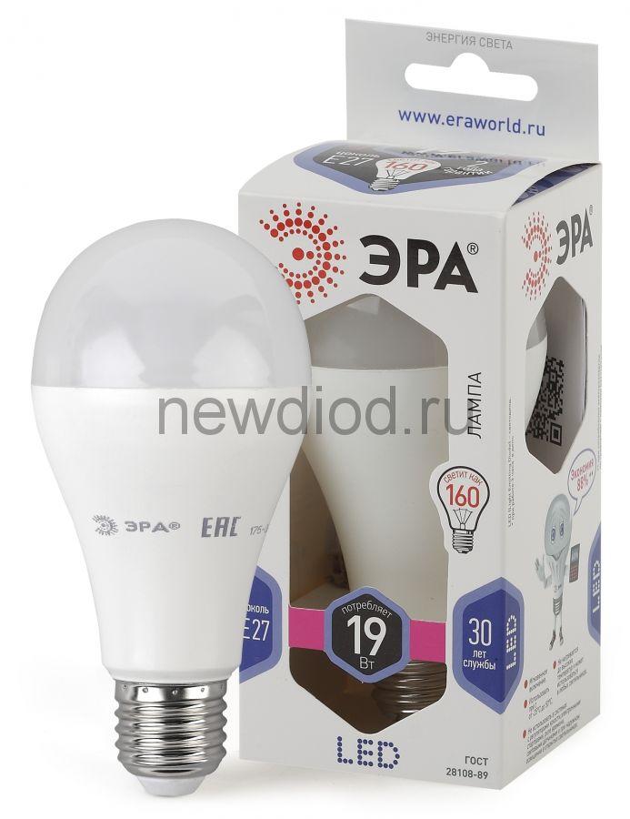 Лампы СВЕТОДИОДНЫЕ СТАНДАРТ LED A65-19W-860-E27  ЭРА (диод, груша, 19Вт, хол, E27)