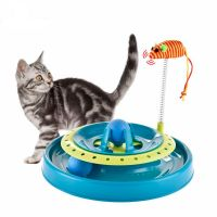 Игрушка-трек для кошек с двумя мячиками Cat Scratch Pan, Голубой