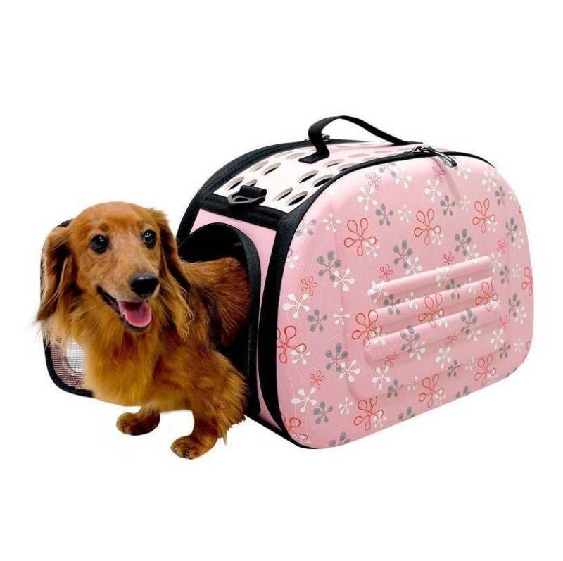 Складная сумка-переноска в цветочек для животных до 6 кг, Розовый