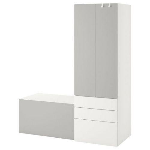 SMASTAD СМОСТАД, Комбинация д/хранения, белый серый/со скамьей, 150x57x181 см - 293.959.25