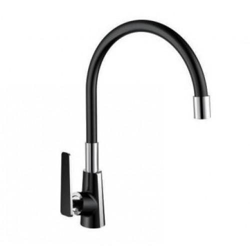 Черный гибкий смеситель для кухни Frap F4457