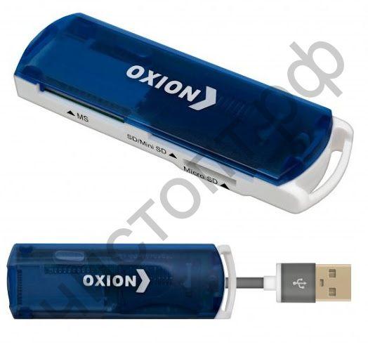 Картридер OXION OCR004BL, синий, USB 2.0 (SD,SDHC,RS MMC,Micro SD,M2,MS PRO Duo,Mini sd до 64 Гб)