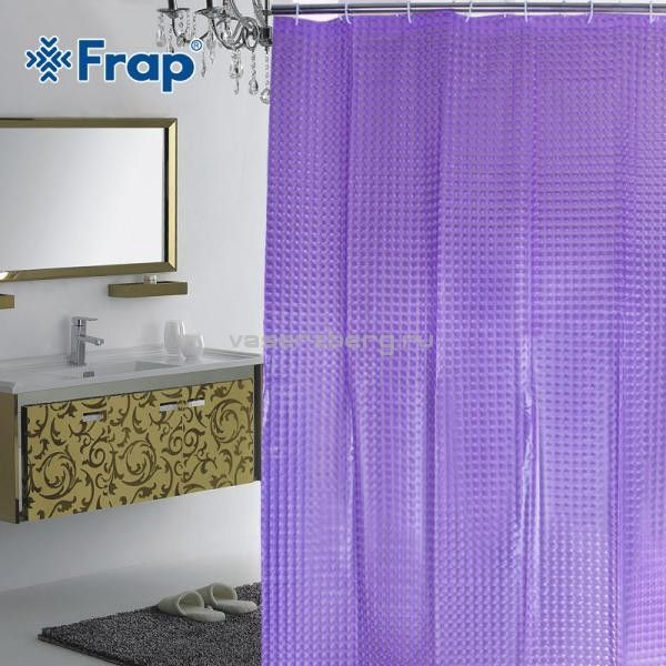 Шторка для душа 3D Peva фиолетовая Frap F8751