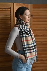 "Большой теплый шотландский шарф 100% шерсть ягнёнка , коллекция  ""Дарвин"" , тартан ТОМСОН КЭМЭЛ THOMSON CAMEL DARWIN  OVERSIZED LAMBSWOOL SCARF плотность 6"