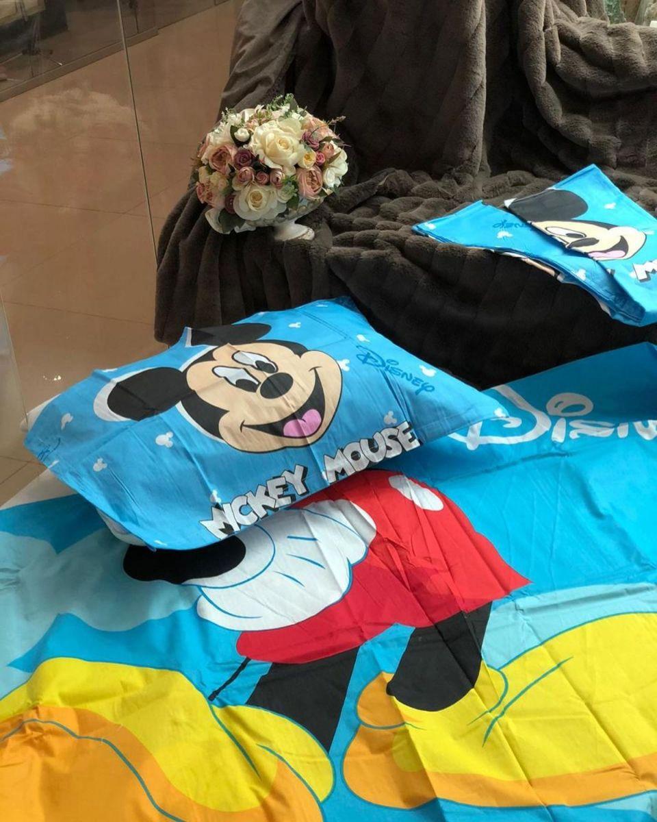 постельное белье из сатина Единорог, Микки и фламинго