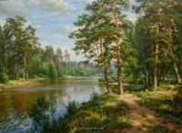 Картина по номерам на подрамнике GX24318, Басов Сергей, озеро в лесу