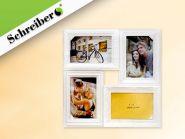 Фоторамка-коллаж, белый цвет, для 4 фото 10х15 см, 34х33 см (арт. S 4024)