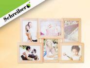 "Фоторамка-коллаж ""СЕМЬЯ"", древесный цвет, для 6 фото 13х18 см, размер - 56х36 см (арт. S 4029)"