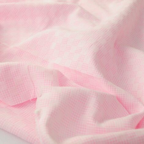 хлопок жаккард  клеточка нежно- розовый