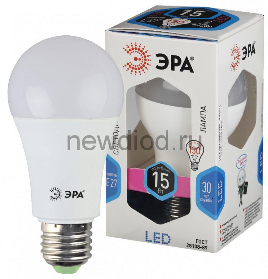 Лампы СВЕТОДИОДНЫЕ СТАНДАРТ LED A60-15W-840-E27  ЭРА (диод, груша, 15Вт, нейтр, E27),