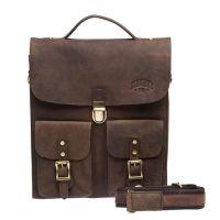 Вертикальный кожаный мужской портфель Klondike Brady, коричневый