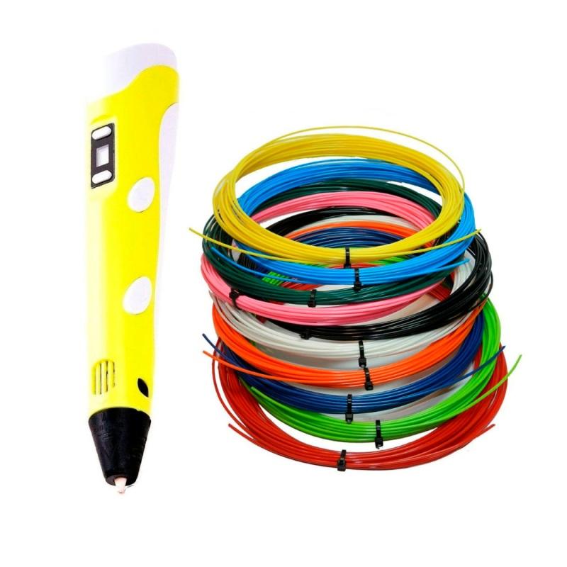 3D ручка с набором пластика 10 цветов по 10 метров, Желтый