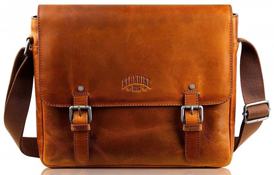 Кожаная мужская сумка-мессенджер Klondike Digger Joe, коньячная