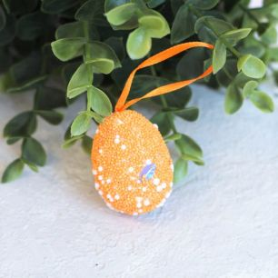 """Пасхальный декор """"Оранжевое яйцо с лентой"""" 3*4 см"""