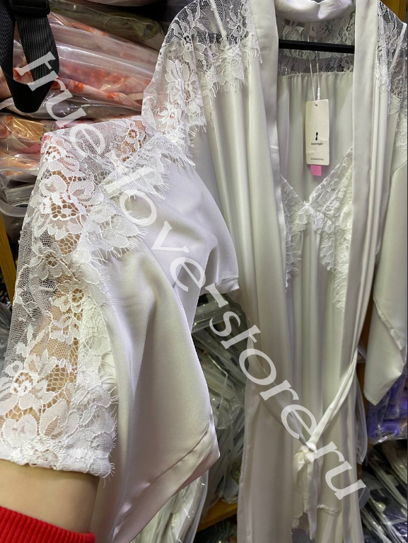 506310-1- Цена за 2 шт, Ажурная ночная сорочка и халат