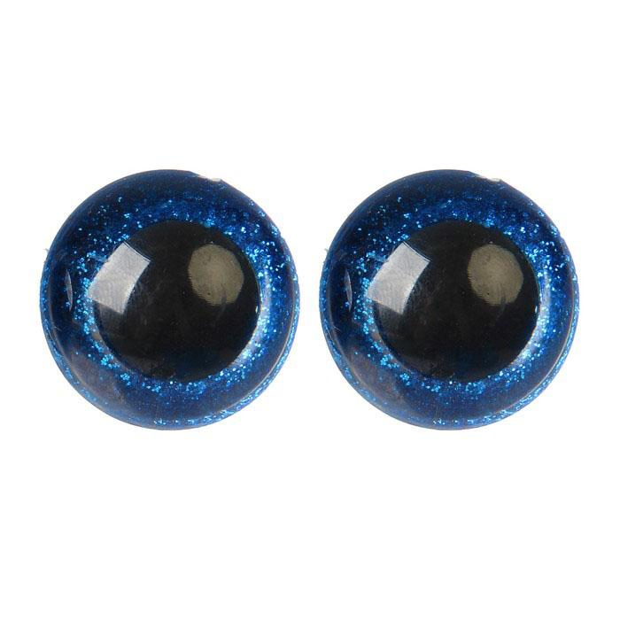 Глазки винтовые с заглушками Блестки 28мм синий