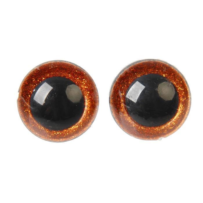 Глазки винтовые с заглушками Блестки 26мм коричневый