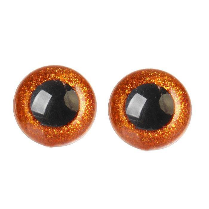 Глазки винтовые с заглушками Блестки 20мм коричневый