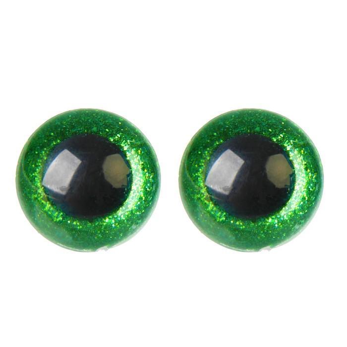 Глазки винтовые с заглушками Блестки 24мм зеленый