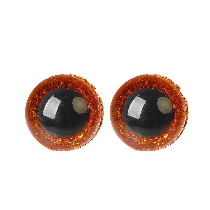 Глазки винтовые с заглушками Блестки 16мм коричневый