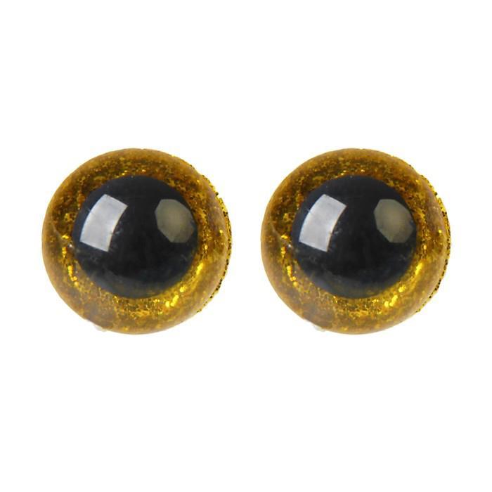 Глазки винтовые с заглушками Блестки 12мм желтый