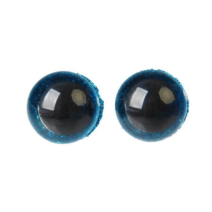Глазки винтовые с заглушками Блестки 12мм голубой
