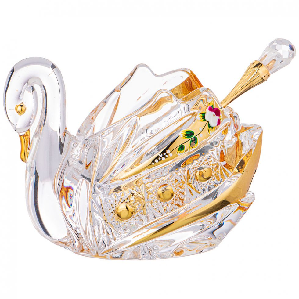 "ИКОРНИЦА ""ЛЕБЕДЬ LEFARD GOLD GLASS"" С ЛОЖКОЙ"