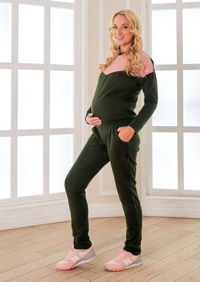 Комплект Сильвана  джемпер для кормления и брюки хаки/пудра