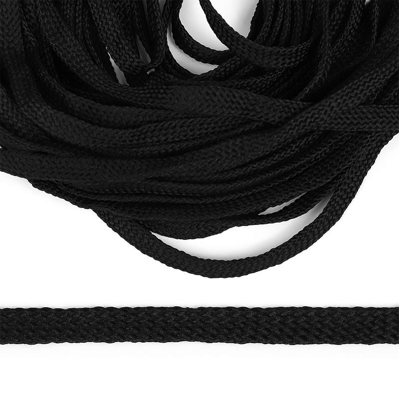 фото Шнур полиэфирный плоский 12 мм турецкое плетение 93 черный