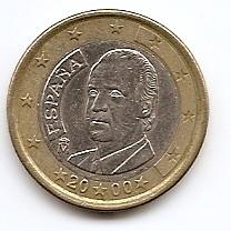 1 евро регулярная монета Испания 2000